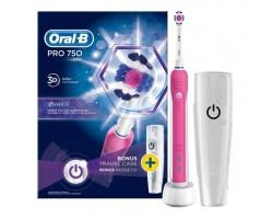Oral-B 3D White Pro 750 Ηλεκτρική Οδοντόβουρτσα μαζί με θήκη ταξιδίου 1 τεμάχιο