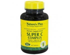 Nature's Plus Super C Complex, Vitamin C 1000mg με 500mg Βιοφλαβονοειδή Λεμονιού, 60 κάψουλες
