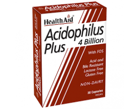 Health Aid Acidophilus Plus 4 Billion Vegetarian Capsules Προβιοτικά, φιλικά βακτηρίδια για την υγεία της εντερικής χλωρίδας 30s