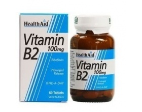 Health Aid Vitamin B2 100mg απαραίτητη για το σχηματισμό ερυθρών αιμοσφαιρίων, για το μεταβολισμό των λιπών 60tabs