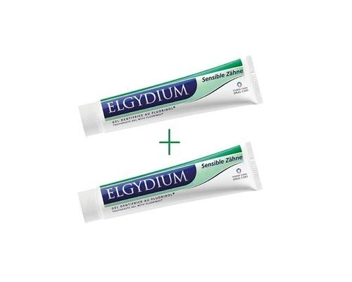 ELGYDIUM  Sensitive (1+1) ΔΩΡΟ, Απαλή οδοντόπαστα σε μορφή gel, που καθαρίζει αποτελεσματικά τα δόντια και σέβεται παράλληλα το σμάλτο των δοντιών, 2x 75 ml