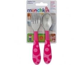 MUNCHKIN Παιδικό Σετ Φαγητού Πιρούνι-Κουτάλι  Χρώμα Ροζ, 12m+, 2τμχ