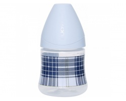 SUAVINEX Μπιμπερό Πλαστικό 3P 0m+ Στρογγυλή Θηλή Σιλικόνης, I am trendy 3800057, Χρώμα Σιελ, 150ml, 1 τεμ