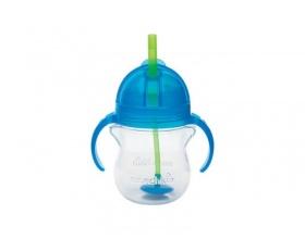 Munchkin, Tip & Sip Straw Cup Ποτήρι με Καλαμάκι & Βαρίδι που δε Χύνεται 6m+, Χρώμα Μπλε, 207ml