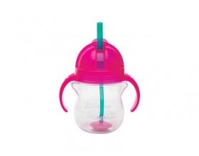 Munchkin, Tip & Sip Straw Cup Ποτήρι με Καλαμάκι & Βαρίδι που δε Χύνεται 6m+, Χρώμα Ροζ, 207ml