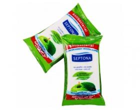SEPTONA Αντιβακτηριδιακά Υγρά Μαντηλάκια 2+2 Πράσινο Μήλο που Εξουδετερώνει Βακτήρια και Ιους H1N1, H3N2, 4*15τμχ