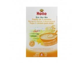 HOLLE,  Βρεφική Κρέμα, Βιολογική, 3 Δημητριακά, από 6 μηνών, 250gr, 1 τεμ.