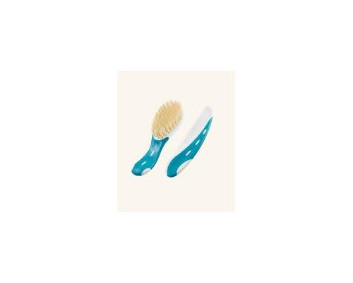NUK Baby Brush With Comb, Βρεφική βούρτσα και χτένα απο φυσικη τριχα, σε λευκό - γαλάζιο χρώμα