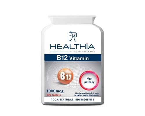 Healthia Vitamin Β12 Συμπλήρωμα Διατροφής με Βιταμίνη Β12, 100tabs