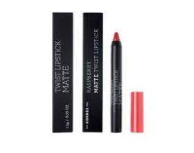 KORRES, Raspberry Matte Twist Lipstick-Imposing Red, Κραγιόν σε πρακτική συσκευασία μολυβιού για ultra ματ τελείωμα με ακρίβεια και εξαιρετική διάρκεια, 1,5g