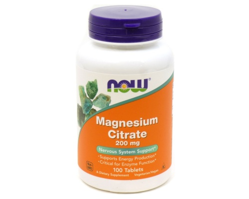 Now Foods Magnesium Citrate 200mg, 100tabs