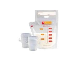 Ameda Store'N Pour Σακουλάκια Αποθήκευσης Μητρικού Γάλακτος & 2 Συνδετικά Κεφαλής,  20 σακουλάκια