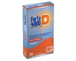 Quest Forte D 4000 Vitamin D3i.u (100mg), Για την καλή κατάσταση των οστών και των δοντιών,στην καλή λειτουργία των μυών και του ανοσοποιητικού, 60 μασώμενες ταμπλέτες