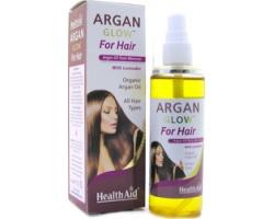 HealthAid ARGAN GLOW for hair, 100% Βιολογικό Έλαιο Αργκάν, για μαλλιά υγιή, απαλά, λαμπερά & στιλπνά, με μη λιπαρό φινίρισμα 125 ml