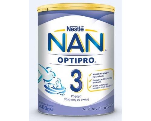 Nan 3 Nestle OPTIPRO, Βρεφικό γάλα κατάλληλο για βρέφη από 12m+ 400gr 1 τεμάχιο