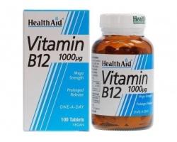 Health Aid Vitamin B12 1000mg, Συμπλήρωμα Διατροφής για την Καλή Λειτουργία του Νευρικού Συστήματος, 100 tabs