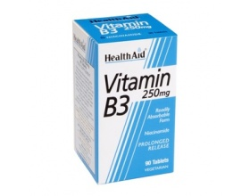 Health Aid Vitamin B3  Χρήσιμη για την παραγωγή ενέργειας από την τροφή, στην ακμή και στη διατήρηση σωστών επιπέδων χοληστερόλης, 90tbs