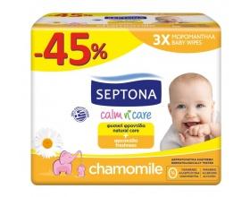 Septona, Calm n Care, Μωρομάντηλα Sensitive με Χαμομήλι, 2+1 ΔΩΡΟ των 64 τεμαχίων