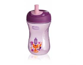 Chicco Advanced Cup Easy Drinking 12+m, Παγουράκι για Βαθμιαία Εκμάθηση με Καλαμάκι, 2 σε 1 με Βαλβίδα ή Χωρίς, Χρώμα Μοβ 69411, 266ml