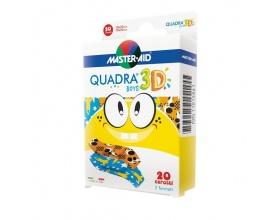 Master Aid Quadra 3D Boys, Χρωματιστό Αυτοκόλλητο Επίθεμα με Τρισδιάστατα Σχέδια 20τμχ