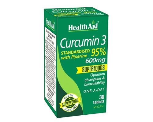 HEALTH AID Curcumin 3 600mg Ενεργό συστατικό του κουρκουμά, ένα ισχυρό αντιοξειδωτικό με πολλαπλά οφέλη για την υγεία 30tabs
