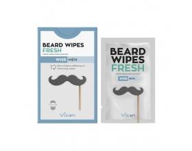 Vican Wise Men Beard Wipes Fresh Μαντηλάκια που προσφέρουν καθαρισμό στη στιγμή ενώ παράλληλα αφήνουν τη γενειάδα και την επιδερμίδα καθαρή και απαλή 12τμχ
