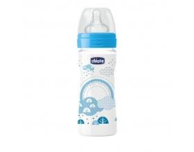 Chicco Well Being Bottle 2m+ Πλαστικό Μπιμπερό κατά των Κολικών με Θηλή Σιλικόνης  Γαλάζιο Χρώμα, 250ml