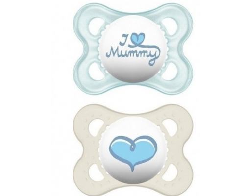 MAM, I Love Mummy & Duddy 115s, Πιπίλα για το Νεογέννητο 0-6 μηνών, χρώμα μπλέ-λευκό, 2τμχ