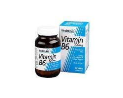 Health Aid B6 Vitamin 100mg Συμπλήρωμα με ζωτικό ρόλο στο μεταβολισμό των αμινοξέων, στο σχηματισμό ερυθρών αιμοσφαιρίων και στον συγχρονισμό των μυϊκών κινήσεων 90 ταμπλέτες