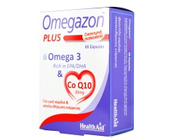 Health Aid Omegazon Plus Omega 3 & Co Q10 30mg Συμπλήρωμα διατροφής για την καλή λειτουργία της καρδίας  60caps