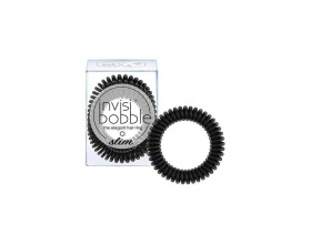 Invisibobble The Elegant Hair Ring Λαστιχάκι Μαλλιών Slim True Black 3 τμχ