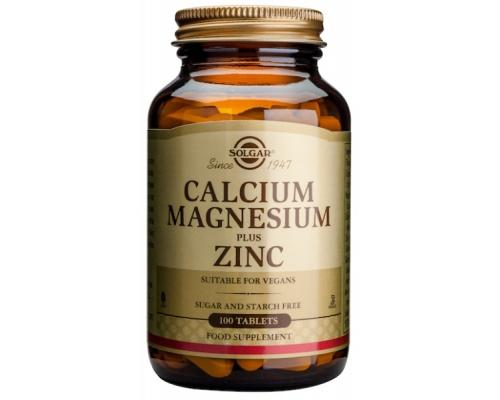 Solgar Calcium Magnesium plus Zinc Ασβέστιο, Μαγνήσιο & Ψευδάργυρος 100 ταμπλέτες