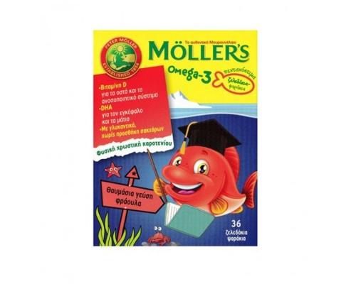 Moller's Ζελεδάκια Ω3 για Παιδιά με γεύση φράουλα 36 gummies