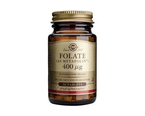 Solgar Folate 400μg (as Metafolin)Συμπλήρωμα Διατροφής με Φολικό Οξύ, 50 tabs