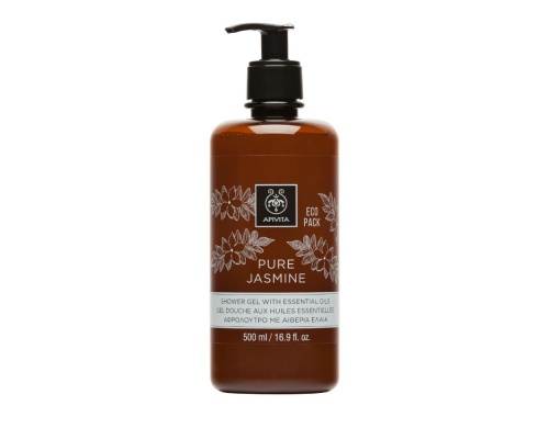 Apivita ECO PACK Pure Jasmine Shower Gel with Essential Oils Αφρόλουτρο με Γιασεμί & Αιθέρια Έλαια, 500ml