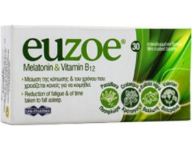 Uni-pharma Euzoe Melatonin & Vitamin B12, Βοηθά στη μείωση της κόπωσης και στην φυσιολογική ψυχολογική λειτουργία 30 δισκία