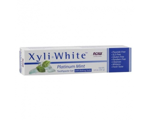 Now Xyliwhite Toothpaste Platinum Mint & Baking Soda , Οδοντόκρεμα Χωρίς Φθόριο με Ξυλιτόλη & Μαγειρική Σόδα 181 ml