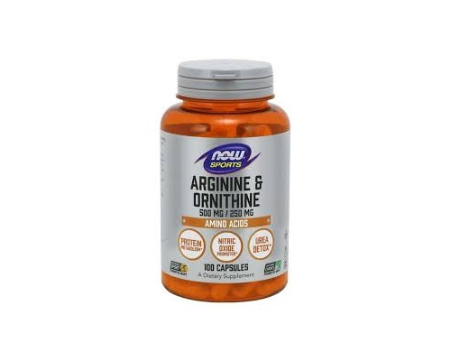 Now Foods Sports L-Arginine 500mg & Ornithine 250mg, Συμπλήρωμα Διατροφής που απελευθερώνει την αυξητική ορμόνη και βοηθά στην ανδρική υπογονιμότητα, 100 κάψουλες