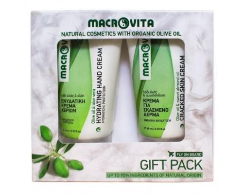 Macrovita GIFT PACK Eνυδατική κρεμα χεριών και  Κρέμα για σκασμένο δέρμα με λάδι ελιάς και αμυγδαλέλαιο 60ml + 60ml