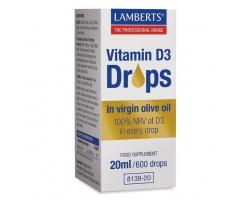 LAMBERTS Vitamin D3 Drops Συμπλήρωμα διατροφής σε παρθένο ελαιόλαδο 20ml