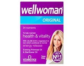 Vitabiotics Wellwoman Original Ενισχύει το ανοσοποιητικό, βελτιώνει την υγεία του δέρματος και βοηθάει στη ρύθμιση των ορμονών και του εμμηνορροϊκού κύκλου, 30caps