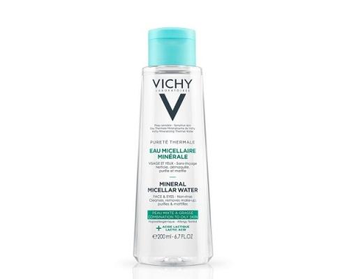 Vichy Eau Micellaire Minerale Water Νερό για πρόσωπο & μάτια για μικτή λιπαρή επιδερμίδα με γαλακτικό οξύ 200ml