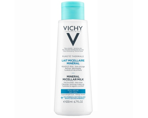 Vichy Lait Micellaire Mineral Micellar Milk Γαλάκτωμα με μεταλλικά στοιχεία για πρόσωπο & μάτια για ξηρή επιδερμίδα 200ml
