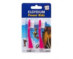 ELGYDIUM Power Kids Ανταλλακτικά κεφαλής για την οδοντόβουρτσα φούξια 2 τεμάχια