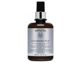 Apivita Cleansing Milk Απαλό γαλάκτωμα με χαμομήλι και μέλι, που καθαρίζει αποτελεσματικά, απομακρύνει μακιγιάζ και ρύπους από πρόσωπο και μάτια  300ml