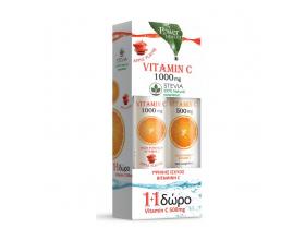 Power Health Vitamin C 1000mg 1+1 ΔΩΡΟ με Στέβια με Γεύση Μήλο 24eff.tabs & μαζί Vitamin C 500mg με Γεύση Πορτοκάλι 20eff.tabs