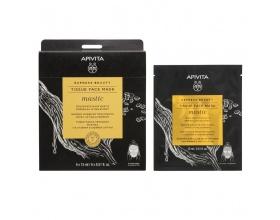 Apivita Express Beauty Mastic Tissue Face Mask Μάσκα Προσώπου Για Σύσφιξη & Αίσθηση Lifting 15ml