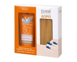 Vichy Promo Pack Capital Soleil Wet Skin Gel Kids SPF50+ Παιδικό Αντηλιακό Ανθεκτικό στο Νερό 200ml + ΔΩΡΟ Καλαμάκια από Σιτάρι