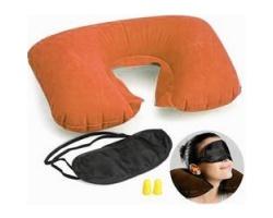 SYNDESMOS Σετ Ταξιδιού - Φουσκωτό Μαξιλάρι για Στήριξη Αυχένα + Μάσκα Ύπνου + Ωτοασπίδες