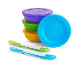 Munchkin, Love-a-bowls Τάπερ Μεταφοράς Φαγητού 4τμχ & Κουτάλια Σιλικόνης 2τμχ